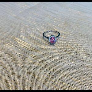 EUC pink sapphire ring with diamonds size 7